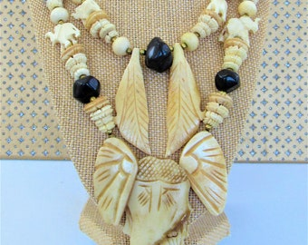 Carved Bone,African Elephant,Necklace,Double Strand,Wood Nut Beads,Vintage Handmade,Africa,Elephant Necklace,Safari Necklace,Work of Art