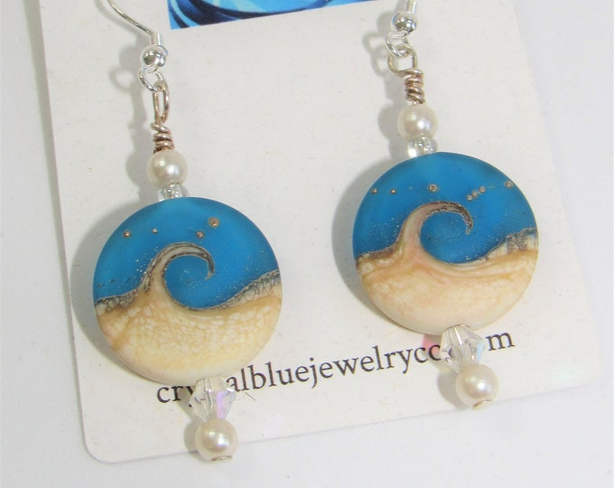 Featured listing image: Beach Wave Earrings,True Blue w/silver dots, Lampwork Glass Beads,Swarovski Aurora Borealis,Crystals,pearls,Sterling Plated Ear hooks