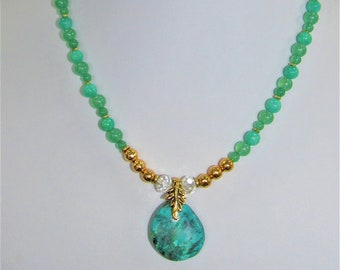 Aventurine Bead Necklace,Green Quartz Beads,Turquoise Green Pendant,Gold Plate beads,Clear Facet Crystals,Brass spacer,Green Gemstones,Green