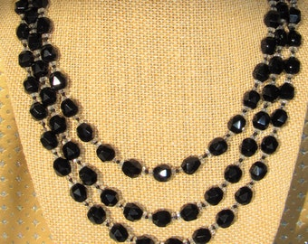 Black Jet Crystal,Necklace,56 inch Necklace,Black Glass Beads,Round faceted Black beads,Vintage black bead,Clear Crystal Spacers,Handknotted