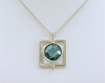 Lia Sophia Aqua Silver Pendant Necklace, Vintage modern silver framed blue crystal,with box,never been worn,retired,complete with tag/box