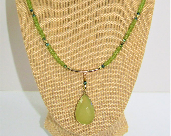 Featured listing image: Peridot Necklace,Green Chalcedony,Faceted Stone,20 inch necklace,Genuine Gemstone,Peridot Bead,Gold Bezeled Stone,August birthstone,Peridot