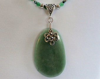 Celtic Pendant,  Polished Green Stone - with eternity knot charm,half bead/half chain silver pendant - adjustable
