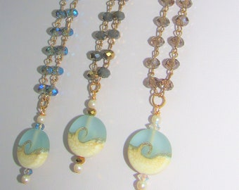 "Beach Wave,Pendant,Large Frost Ice-Blue Glass,3 styles""Rosary"" Chain,Beach Wave Bead w/2 Small Pearls,2 Vintage Crystals,Gold Wire +Crystals"