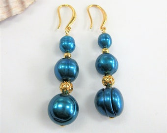 Genuine cultured Blue pearl earrings, triple stacked Honora w/14K gold beads, ear hooks,hand wired, perfectly matched & elegant,repurposed