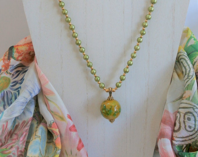 """Featured listing image: Green glass pearl necklace, Green Aqua Marbled glass ball bead, small 14k gold beads,22"""" in length,w/gold plated bail,lobster & 3"""" ext chain"""