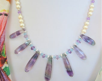 "Blue Purple Fluorite 7 Long Briolette Beads, Pearls Silver Faceted Aquamarine beads make this 19.5"" necklace one of a kind, Full Gemstones"