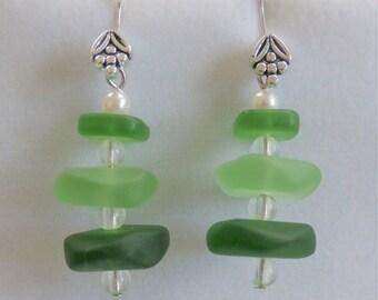 Glass bead earrings, Green Sea-glass Earring Stacks - Pebble Beach -Flower fishhook earrings, tri-glass stacked w clear glass beads,pearl