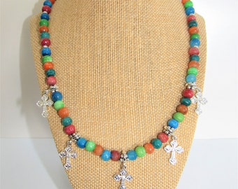 Southwestern Necklace Earring,Colorful Bead,necklace earrings set,Gemstone Silver bead,Dyed Quartz Beads,5 silver cross,Southwestern,Rainbow