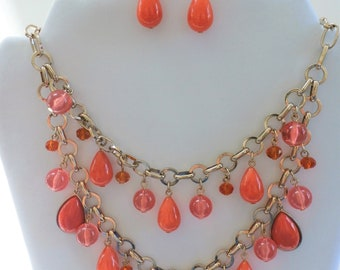 Necklace earrings Set, Vintage coral beads,Baubles and Beads -coral drops and orange faceted crystals on a gorgeous adjustable gold chain