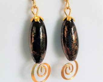 """Bronze Glass Beaded Earrings,Elegant Curl Gold and Bronze Earrings,1"""" Long Lamp work vintage Beads, Gold filled ear wires, caps, fish hooks"""