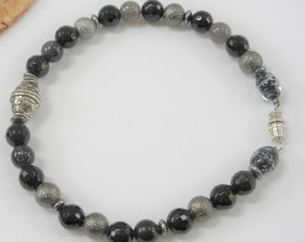 Men's Beaded Wired Bracelet, 10.5 inch fitted, 8 mm smooth faceted grey, black,glass multi beads,w/Silver Focal Bead, threaded screw closure
