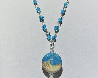 """Ocean Wave Bead Blue Lamp work Pendant,Glass Beach Wave w/Sand silver dots. Genuine Pearls,2 AB Crystals, 26"""" blue glass bead Sterling Chain"""