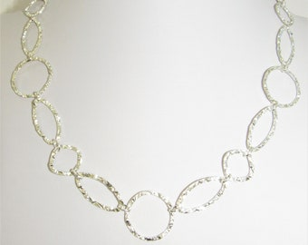 Silver Chain Necklace,Hammered Silver links,Textured Silver link,Textured Silver Necklace,Silver Necklace Linked,Genuine Silver links,Silver