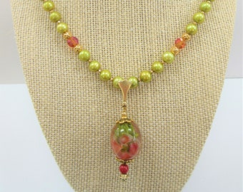 Lamp work Crystal Floral Bead Pendant 20 in Necklace,Handcrafted glass focal,Moss green genuine pearls,pink crystals,14K gold bead,lobster
