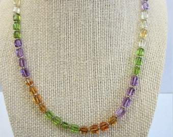 Peridot Amethyst Citrine Gemstone Necklace,square bead necklace w/14K gold spacer beads clasp,58 Shades of genuine stones, 19 inch choker