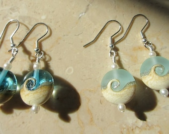 Ocean Wave Bead Earrings,Clear Blue Glass Beach Wave,Genuine Pearls,Choice of Sterling Ear wires,post,lever,hook,Pendant Available to match