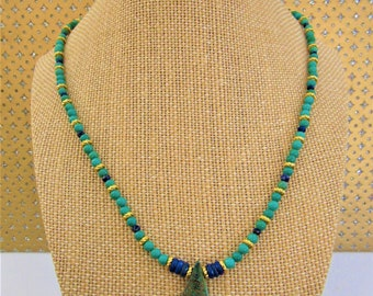 Turquoise Lapis Bead,Lapis Necklace,Azurite Malachite Teardrop Pendant,14K Gold rope spacers,Vermeil Gold S Hook,Turquoise beads,Lapis Beads