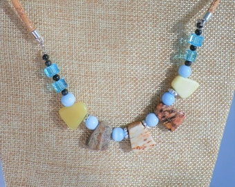 "Beaded natural cork 23"" necklace, Colorful stones,glass,silver, pearl beads hand strung on silver flecked cork, spring ring with chain"
