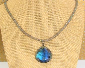 Labradorite Gemstone,Necklace,Labradorite Pendant,faceted gemstone beads,Labradorite teardrop,Beveled Teardrop Pendant,all full gemstones