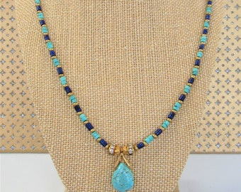 Turquoise Lapis Necklace,Lapis Lazuli Necklace,Turquoise Bead Necklace,Brass Bead,Howlite teardrop,Gemstone Necklace,Lapis Tuquoise,Gemstone