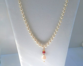 Pearl Necklace,Silky Hand knot 8mm faux pearls,15mm Natural Pearl,10mm Ruby Glass bead,14K gold plated beads, cap, wire,ring,snap closure.