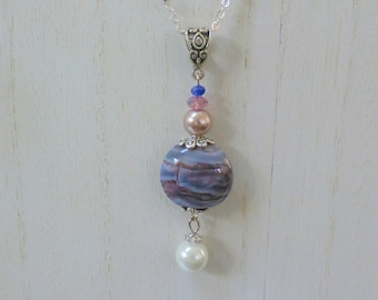 Lamp work purple Bead Pendant, Sterling Silver Chain, Pearls and Screw Closure