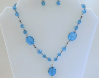 Vintage Blue Bead Necklace set, with matching earrings- Faceted Acrylic, redesigned beads ,with gunmetal and silver beads ,extra chain