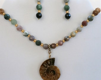 """Necklace & Earring Set,Ammonite Fossil, 20""""genuine faceted color agate beads,14Kgold glass beads, a genuine 2"""" Ammonite ,Quality workmanship"""