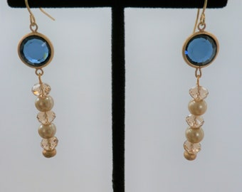 Blue Moon bead earrings, Blue glass, pearls , crystal and gold findings on earrings , (other style earrings available in same colors)