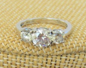 Triple Round Cut Cubic Zirconia Ring,Setting in Sterling Silver,.925 stamped Made in Viet Nam, Sparkling Ring,excellent condition,never worn