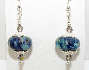 Lampwork blue earrings,Lampwork Glass swirl,Blue Green swirl glass,silver handwired earwire,Crystal,green blue crystal,Lampwork donuts,.925