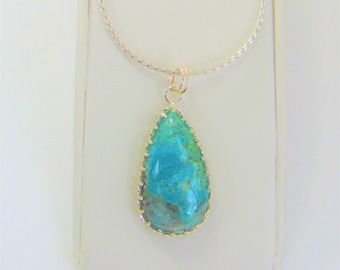 Chrysocolla Cabochon,chrysocolla teardrop,Chrysocolla Pendant,Silver Chain,Silver snake chain,Turquoise Color,Polished stone,Blue Gemstones