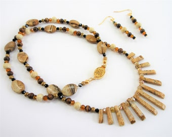 Jasper and crystal beaded Necklace and earring set, hand wired with wood, brass,cream quartz beads,Asian antique 14K gold clasp & ear wires
