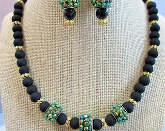 "Black Matte Glass Bead 17.5"" choker necklace w/ 3 aurora studded beads, gold filigree spacers, matching 14K Gold Earrings, Lobster and Ring"