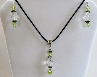 "Pendant Earrings Set, Gin & Tonic,Vintage Crystal beads,Sparkling green crystal and silver Pendant, silver earrings w/18"" black silk cord"