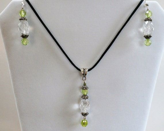"""Pendant Earrings Set, Gin & Tonic,Vintage Crystal beads,Sparkling green crystal and silver Pendant, silver earrings w/18"""" black silk cord"""