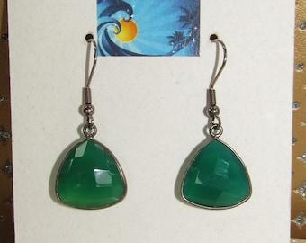 Green Chalcedony Earrings,Dark Silver bezeled, Green Triangles,Kelly Green,Pierced Earrings,Faceted ChalcedonyEarring,Green Gemstone Earring