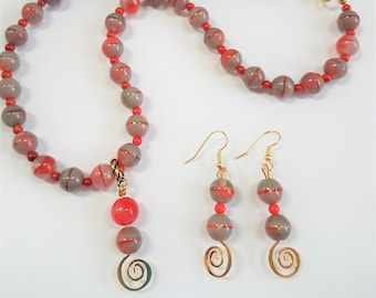 "Necklace Earrings set, Coral Sunset - 20"" strand of gray coral glass 10 mm beads, genuine coral beads,Gold/bead charm,matching gold earrings"
