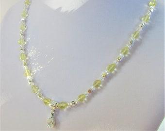 Lemon Quartz/Swarovski Crystal Necklace,14 8X6mm Lemon teardrop bead,50 6mm round crystals,soft square .925 beads/lobster 8mm sq CZ,Bridal