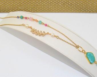 Beveled Amazonite,Aqua Amazonite,Freeform Pendant,Gemstone slab,Pearls Gold chain,White Pearls,Leaf crystal,Gold chain pearls,beads crystals