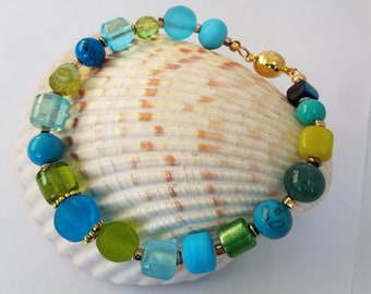 "XL Sea Glass bead bracelet, Blue Green 9.5"" Bracelet, Multi blue green,gold spacers,gold magnet bead closure,100% glass beads,1 of a Kind"