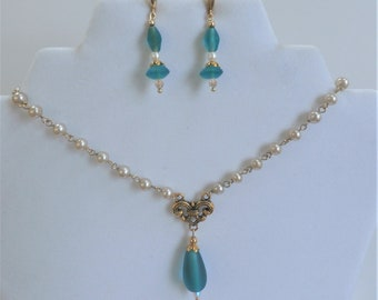 "Beaded Necklace and Earring set, 24"" Pearl beaded chain,Gold and Turquoise Frosted sea glass drop, Swarovski  aurora crystal & gold beads"
