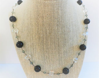 Crystal Onyx Necklace, Antique 12 mm Onyx Ball Necklace,Hand-wired Large Faceted Crystals,w/small faceted crystals, s.s. lobster claw clasp