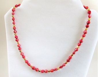 """Ruby Red Pearls, gold beads,7mm Pearls,Red Necklace,14K plate bead,22"""" necklace,Honora Pearls,14K spring clasp/ring,Honora quality,restrung"""