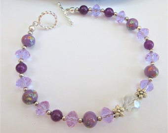 Violet Purple Crystal bead Bracelet, round and flower shaped Silver beads,Gorgeous aurora crystal faceted bead,8.5 in.925 toggle bracelet