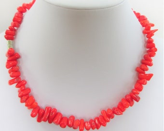Genuine Coral Choker Necklace, 16.5 inches of pure coral beads, silver steel magnet closure, wraps for a bracelet,Gorgeous color,smooth wear