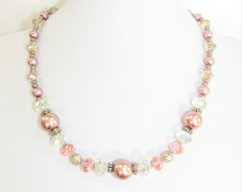 Crystal Mauve Pearl Necklace,Vintage Clear and Pink Crystals,Mauve and Pink bead necklace,Pinks and Clear crystal Choker,Midcentury Necklace