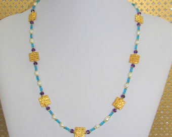 Neon Blue Apatite,Pearl,Amethyst Necklace,22K Gold Square bead,brass spacers,Gemstone,Art Deco Gems,Gold beads,White pearl,Gemstone Necklace