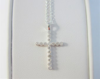 Reduced! Sterling Silver Pave Cubic Zirconia Cross Pendant,18 inch Sterling Silver cable chain w/1 inch ext,Sparkling design,Christian cross
